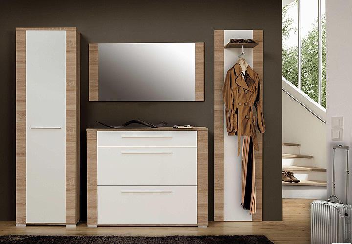 vitra garderoben set 4tlg sonoma eiche wei. Black Bedroom Furniture Sets. Home Design Ideas