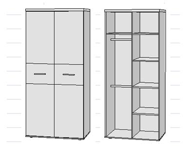 kleiderschrank winnie 2 t rig babyzimmer sonoma eiche. Black Bedroom Furniture Sets. Home Design Ideas