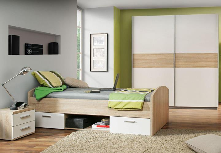 jugendbett winnie bett 90x200 cm in sonoma eiche und wei. Black Bedroom Furniture Sets. Home Design Ideas