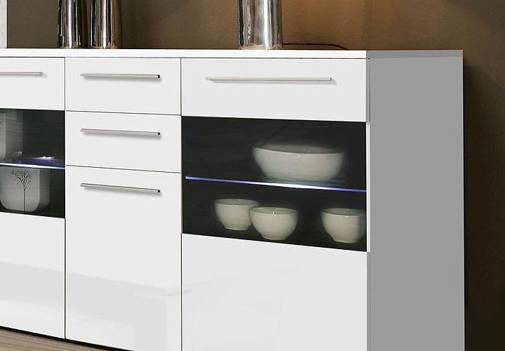 sideboard sanor wei hochglanz wei matt inkl beleuchtung. Black Bedroom Furniture Sets. Home Design Ideas