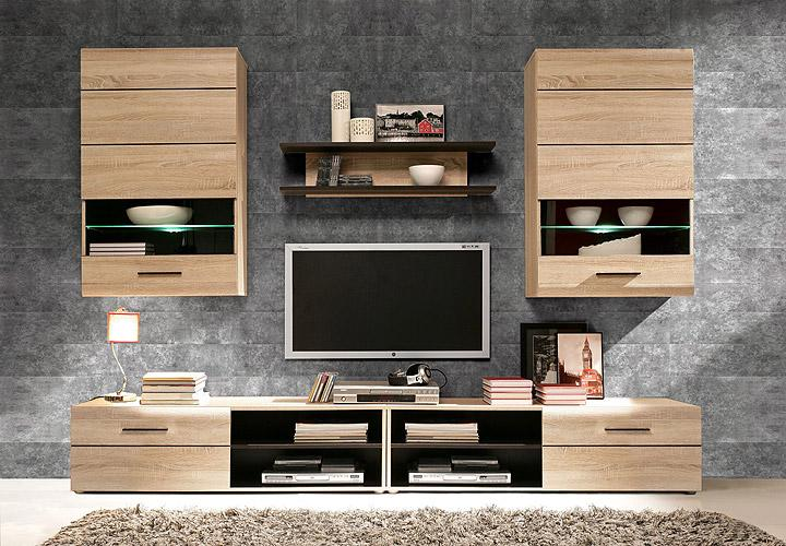 wohnwand 2 combino sonoma denver eiche wenge inkl led. Black Bedroom Furniture Sets. Home Design Ideas