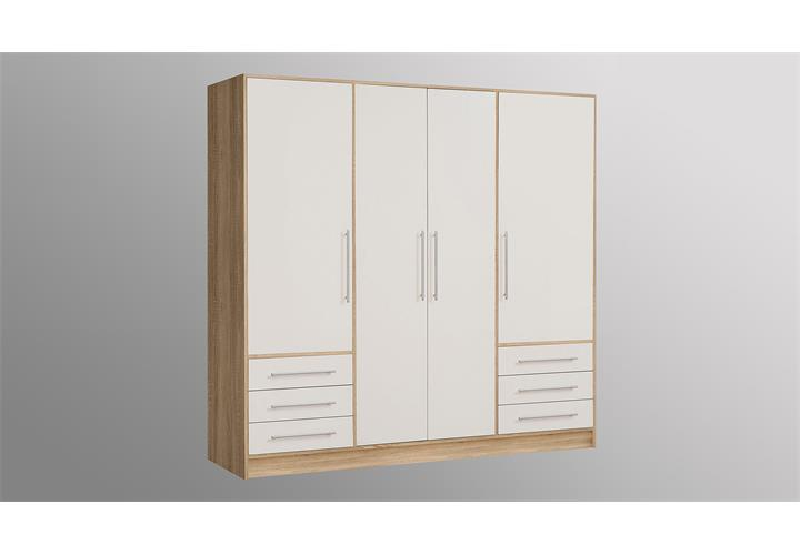 kleiderschrank jupiter schrank in sonoma eiche s gerau und wei 206 cm ebay. Black Bedroom Furniture Sets. Home Design Ideas