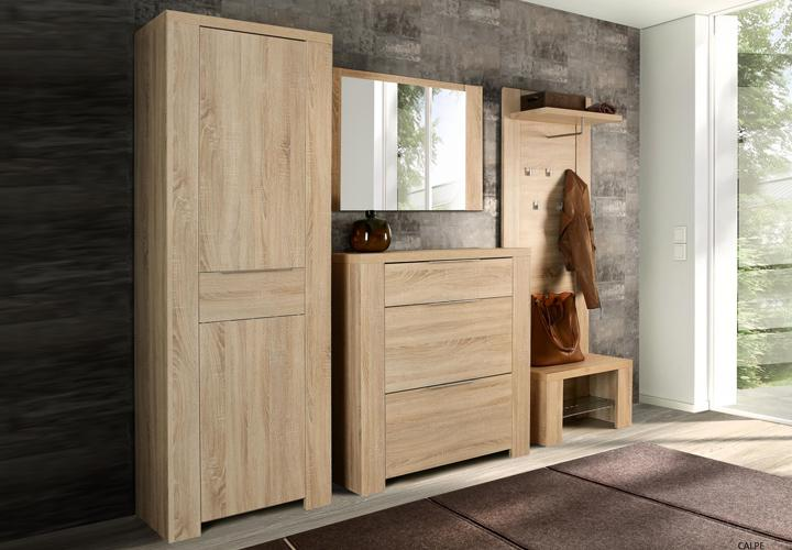 schuhbank calpe garderobe sitzbank mit ablage sonoma eiche. Black Bedroom Furniture Sets. Home Design Ideas