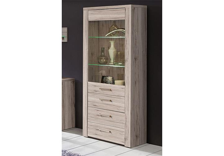 vitrine portland schrank wohnzimmer in sandeiche dekor. Black Bedroom Furniture Sets. Home Design Ideas