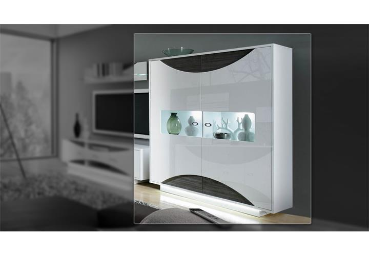 Highboardvitrine wave wei hochglanz eiche grau mit led for Design stuhl wave