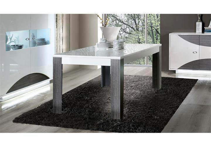 esstisch wave wei hochglanz und eiche grau 160 200x90 cm. Black Bedroom Furniture Sets. Home Design Ideas