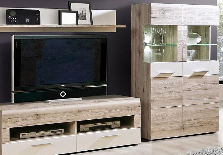 wohnwand ii nabou anbauwand in sandeiche und wei dekor. Black Bedroom Furniture Sets. Home Design Ideas