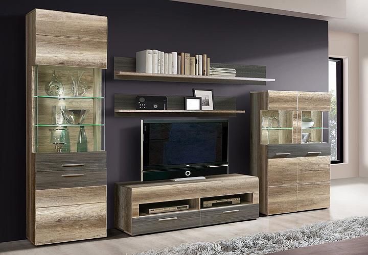 wohnwand ii nabou eiche antik und touchwood braun. Black Bedroom Furniture Sets. Home Design Ideas