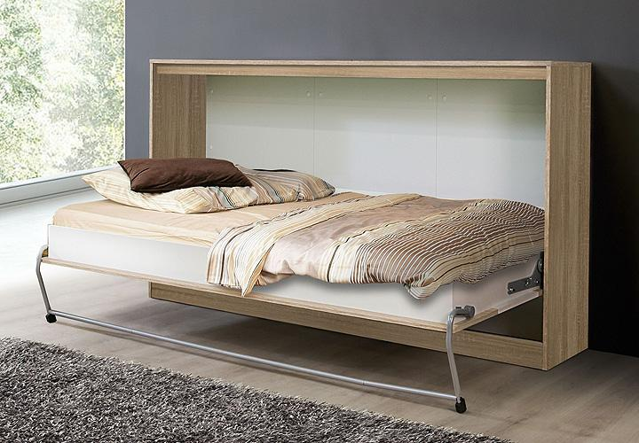 klappbett timo schrankbett g stebett sonoma eiche wei 90x200 cm ebay. Black Bedroom Furniture Sets. Home Design Ideas