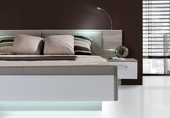 bettanlage rondino sandeiche und wei hochglanz inkl led. Black Bedroom Furniture Sets. Home Design Ideas