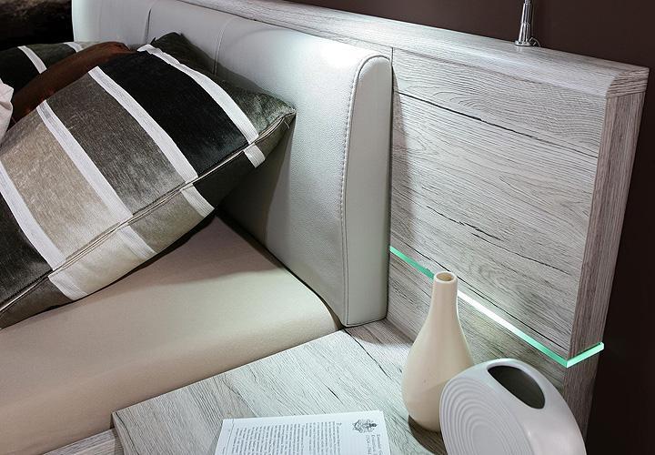 schlafzimmer set rondino sandeiche wei hochglanz inkl led. Black Bedroom Furniture Sets. Home Design Ideas