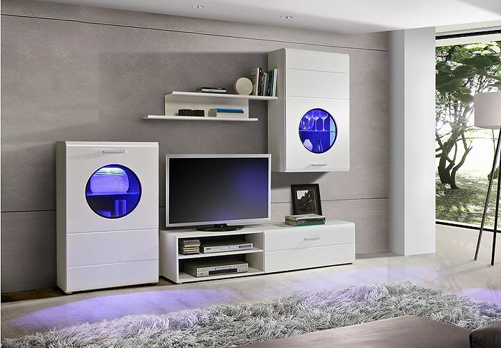 wohnwand skipper anbauwand wei hochglanz schwarz inkl led. Black Bedroom Furniture Sets. Home Design Ideas