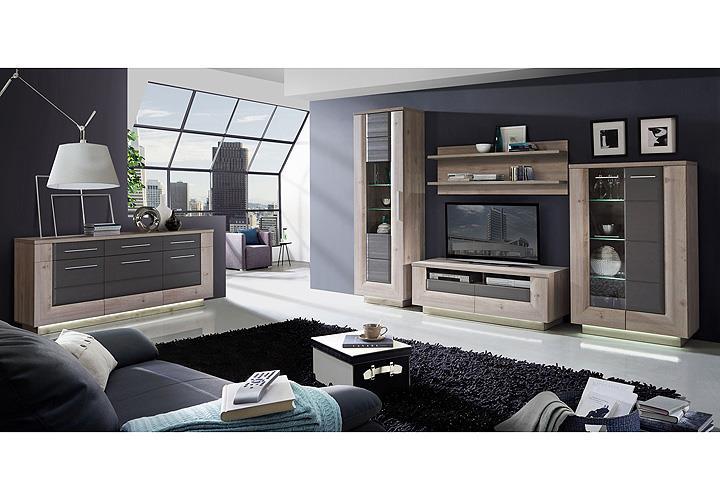 wohnwand 2 stairs anbauwand nelsoneiche eiche grau inkl led. Black Bedroom Furniture Sets. Home Design Ideas