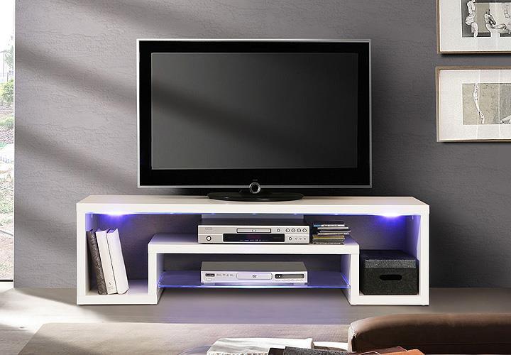 tv board cara unterschrank lowboard wei hochglanz mit led. Black Bedroom Furniture Sets. Home Design Ideas