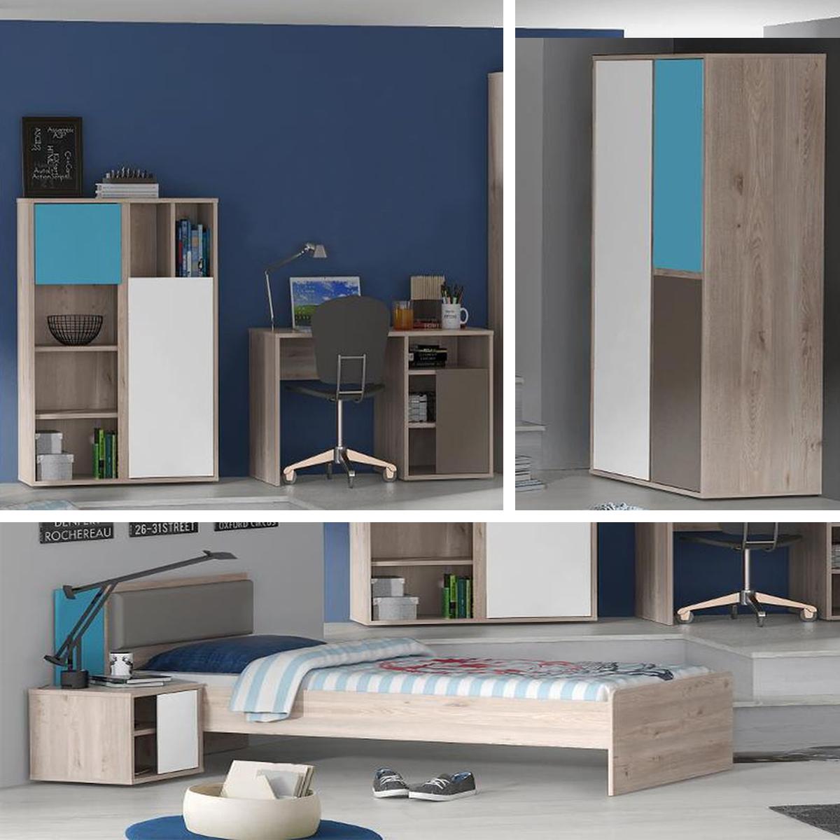 Jugendzimmer sirsey kinderzimmer 5 teilig eiche und blau - Jugendzimmer blau ...