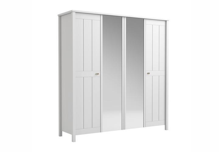 kleiderschrank brighton in wei super matt landhaus style. Black Bedroom Furniture Sets. Home Design Ideas