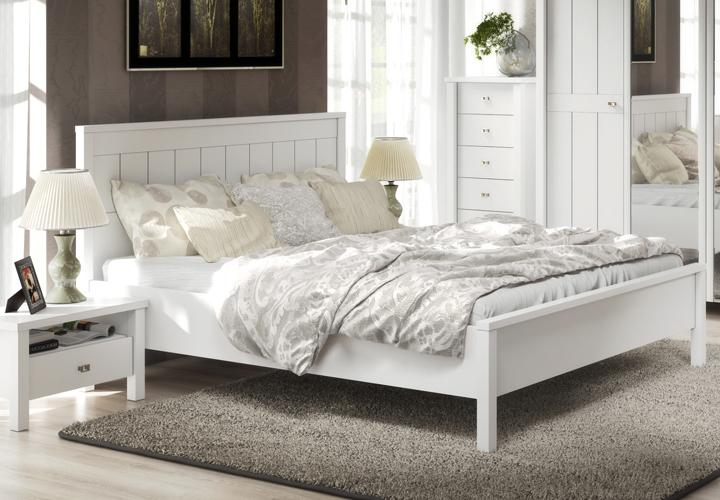 bett 180x200 brighton schlafzimmer landhaus doppelbett weiss matt ebay. Black Bedroom Furniture Sets. Home Design Ideas