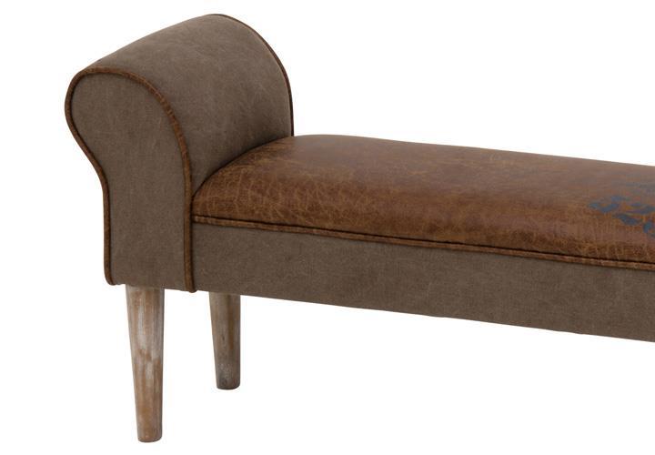 bank soul mit stoff in braun vintage gepolstert massivholz. Black Bedroom Furniture Sets. Home Design Ideas