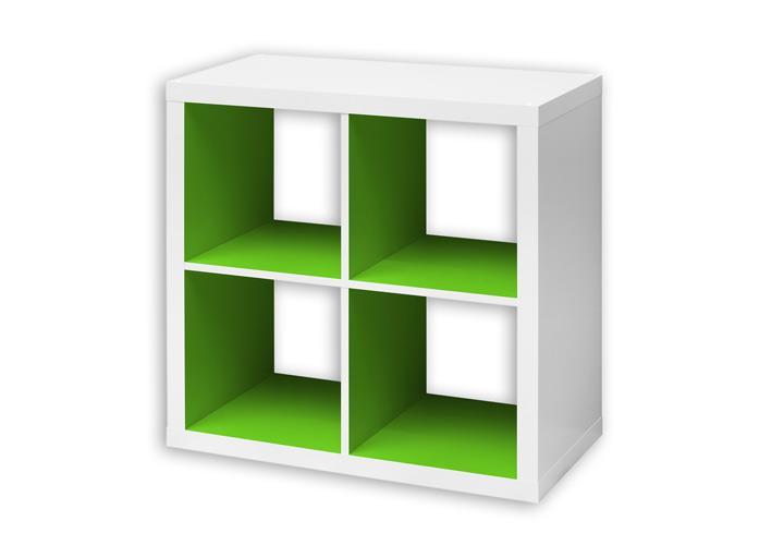 regalw rfel szene 2 regal kasten wei und innen grasgr n. Black Bedroom Furniture Sets. Home Design Ideas