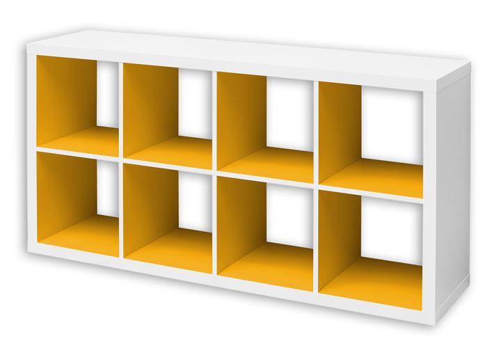 regal szene 8 wei und gelb mit 8 f chern 147 4x76 8 cm. Black Bedroom Furniture Sets. Home Design Ideas