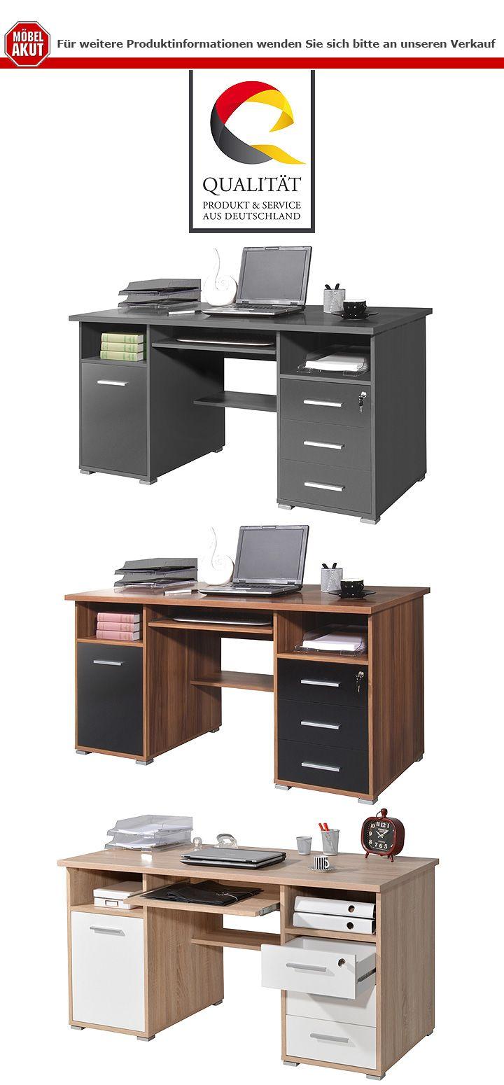 Schreibtisch 0484 b rotisch computertisch schwarz walnuss for Schreibtisch 0484