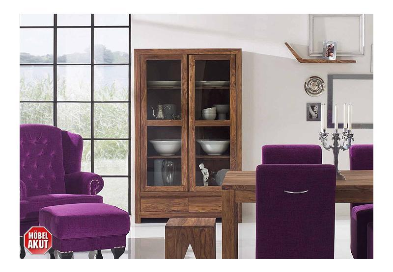 glasvitrine bahia vitrine sheesham massiv neu ovp ebay. Black Bedroom Furniture Sets. Home Design Ideas