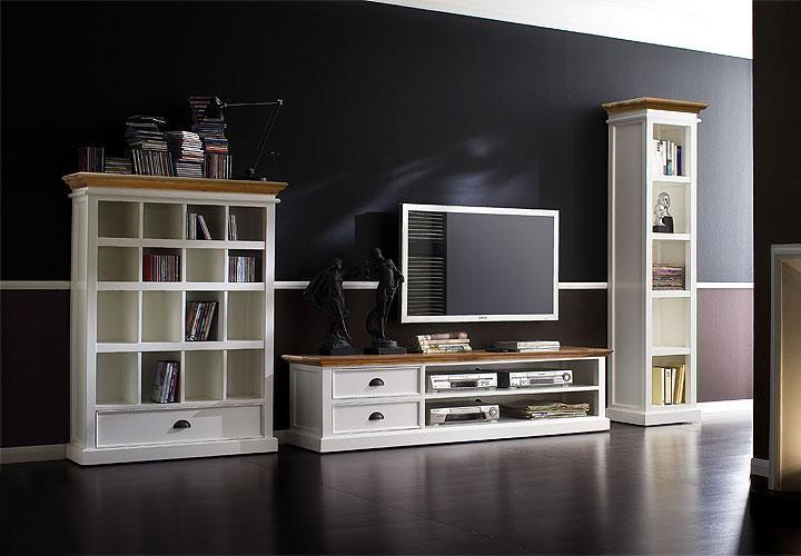 siana wohnwand baywood massiv wei. Black Bedroom Furniture Sets. Home Design Ideas