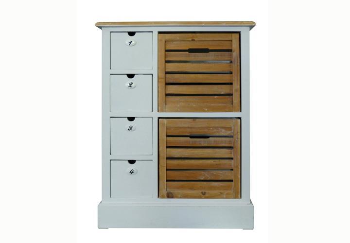 kommode 2 paris paulownia holz weiss vintage. Black Bedroom Furniture Sets. Home Design Ideas