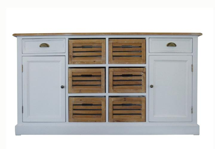 sideboard 5 paris paulownia holz weiss vintage. Black Bedroom Furniture Sets. Home Design Ideas