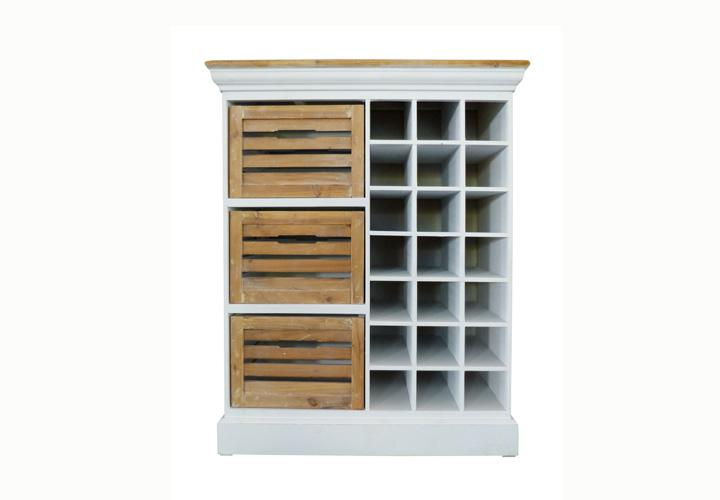 highboard 3 paris paulownia holz weiss vintage. Black Bedroom Furniture Sets. Home Design Ideas