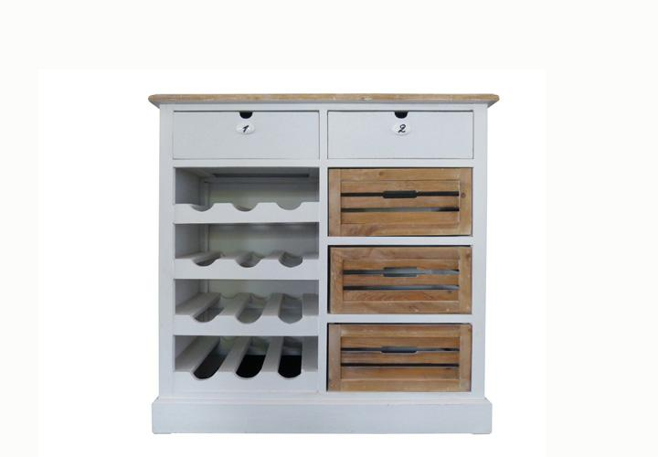 beistellschrank 5 paris kommode in paulownia holz weiss. Black Bedroom Furniture Sets. Home Design Ideas