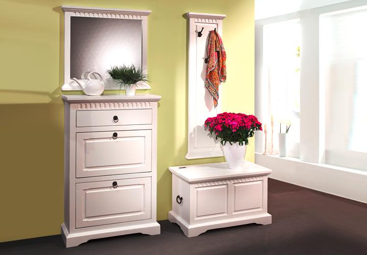 garderobe pisa flurm bel 4 teilig schuhschrank truhe in pinie massiv weiss ebay. Black Bedroom Furniture Sets. Home Design Ideas