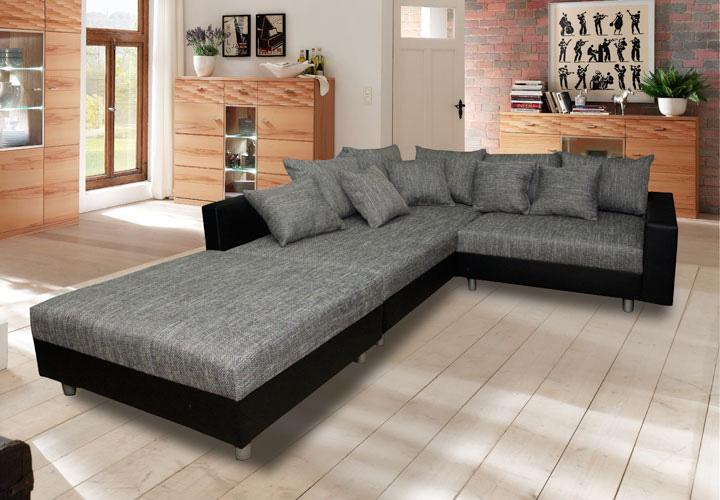ecksofa cleos schwarz und grau ottomane links. Black Bedroom Furniture Sets. Home Design Ideas