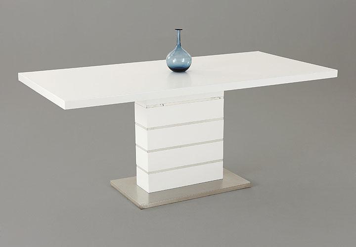 KIRAYA Esstisch ausziehbar 160-200 x 90 cm Weiß Hochglanz Lack