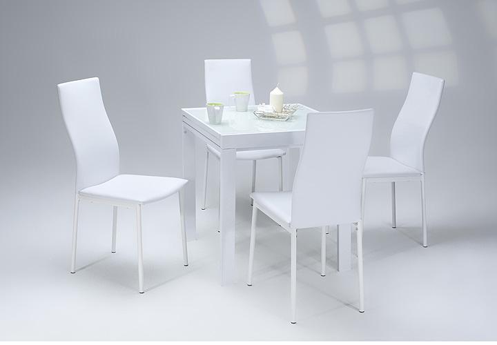 Esstisch DARINA ausziehbar 70-140x70 Weißglas Lack Metall