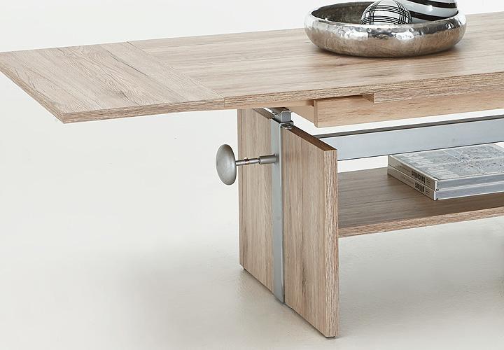 Couchtisch Holz HOhenverstellbar Ausziehbar ~ Couchtisch JOHANNES San Remo Eiche verstellbar ausziehbar