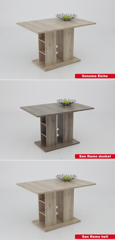esstisch steffi tisch essimmertisch san remo eiche dunkel ausziehbar 120 160x80 ebay. Black Bedroom Furniture Sets. Home Design Ideas
