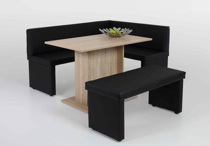 eckbankgruppe taina ines tischgruppe essgruppe schwarz und sonoma eiche links ebay. Black Bedroom Furniture Sets. Home Design Ideas