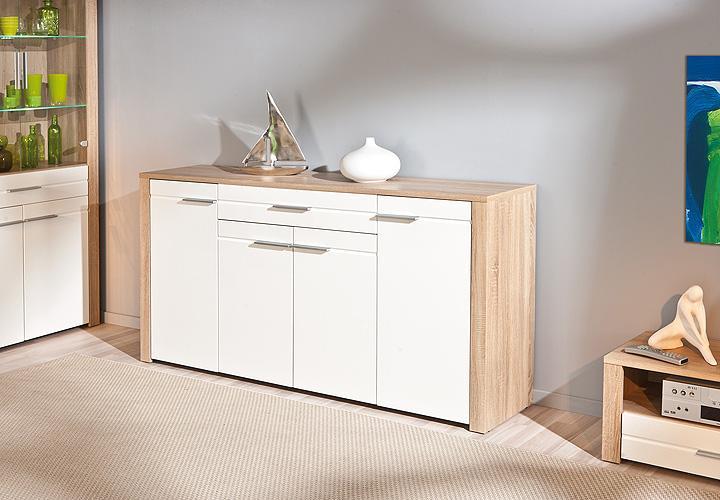 sideboard absoluto sonoma eiche und wei hochglanz. Black Bedroom Furniture Sets. Home Design Ideas