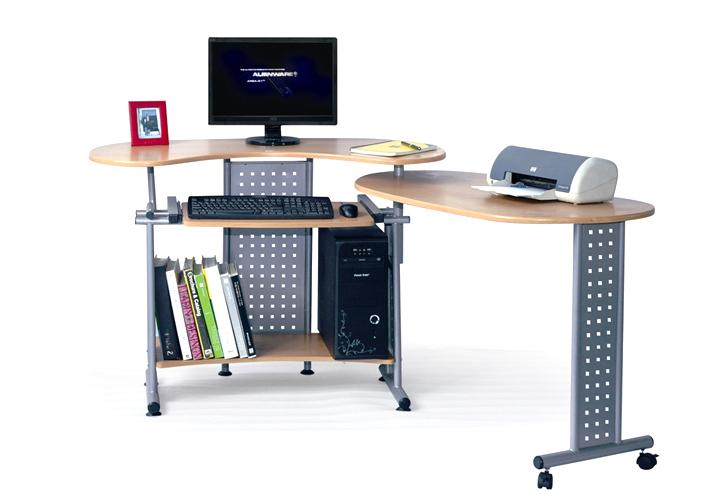 computertisch twin tisch auf rollen schreibtisch drehbar ebay. Black Bedroom Furniture Sets. Home Design Ideas