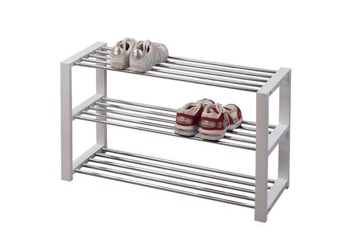 schuhbank luis schuhregal wei mit chromstangen f r 9 paar. Black Bedroom Furniture Sets. Home Design Ideas