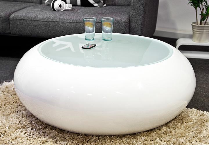 couchtisch lumino tisch glastisch rund glasfaser wei ebay. Black Bedroom Furniture Sets. Home Design Ideas