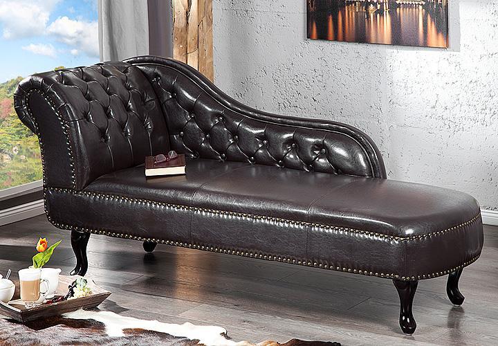 recamiere chesterfield lederlook dark coffee dunkel braun. Black Bedroom Furniture Sets. Home Design Ideas