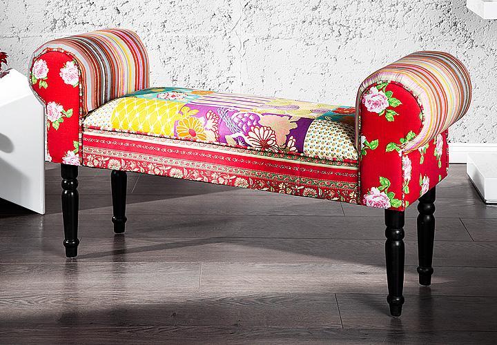 Bank ibiza sitzbank hocker stoff mehrfarbig patchwork stil for Bank skandinavisch