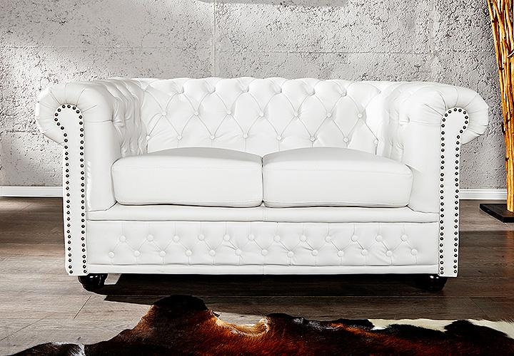 2er sofa chesterfield lederlook wei matt. Black Bedroom Furniture Sets. Home Design Ideas