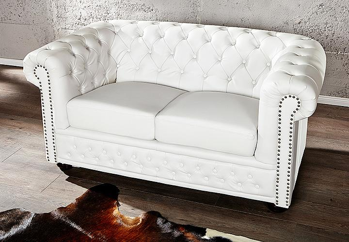 2er sofa chesterfield lederlook wei matt. Black Bedroom Furniture Sets. Home Design Ideas