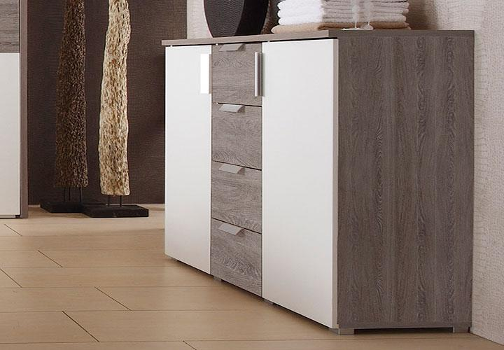 kommode eco sideboard in wei und sonoma eiche tr ffel. Black Bedroom Furniture Sets. Home Design Ideas