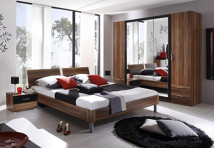 dreams schlafzimmer set kernnuss rot dekor schwarz. Black Bedroom Furniture Sets. Home Design Ideas
