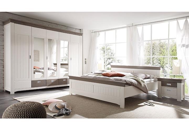 bett luca kiefer teilmassiv wei und tr ffel lackiert 180x200. Black Bedroom Furniture Sets. Home Design Ideas