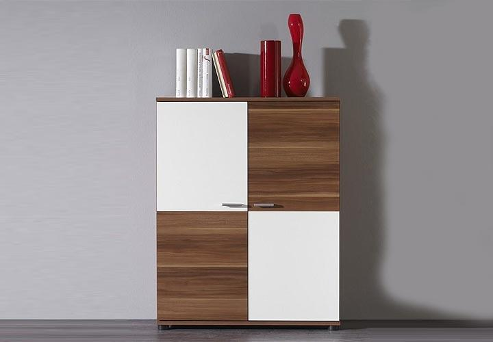highboard top five kommode in wei und nussbaum dekor ebay. Black Bedroom Furniture Sets. Home Design Ideas